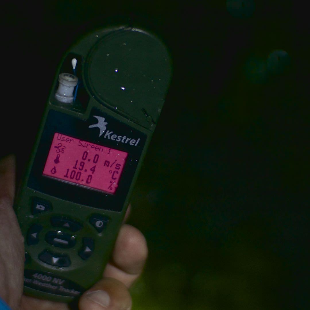 ホタルが棲む森の気象条件を調査する