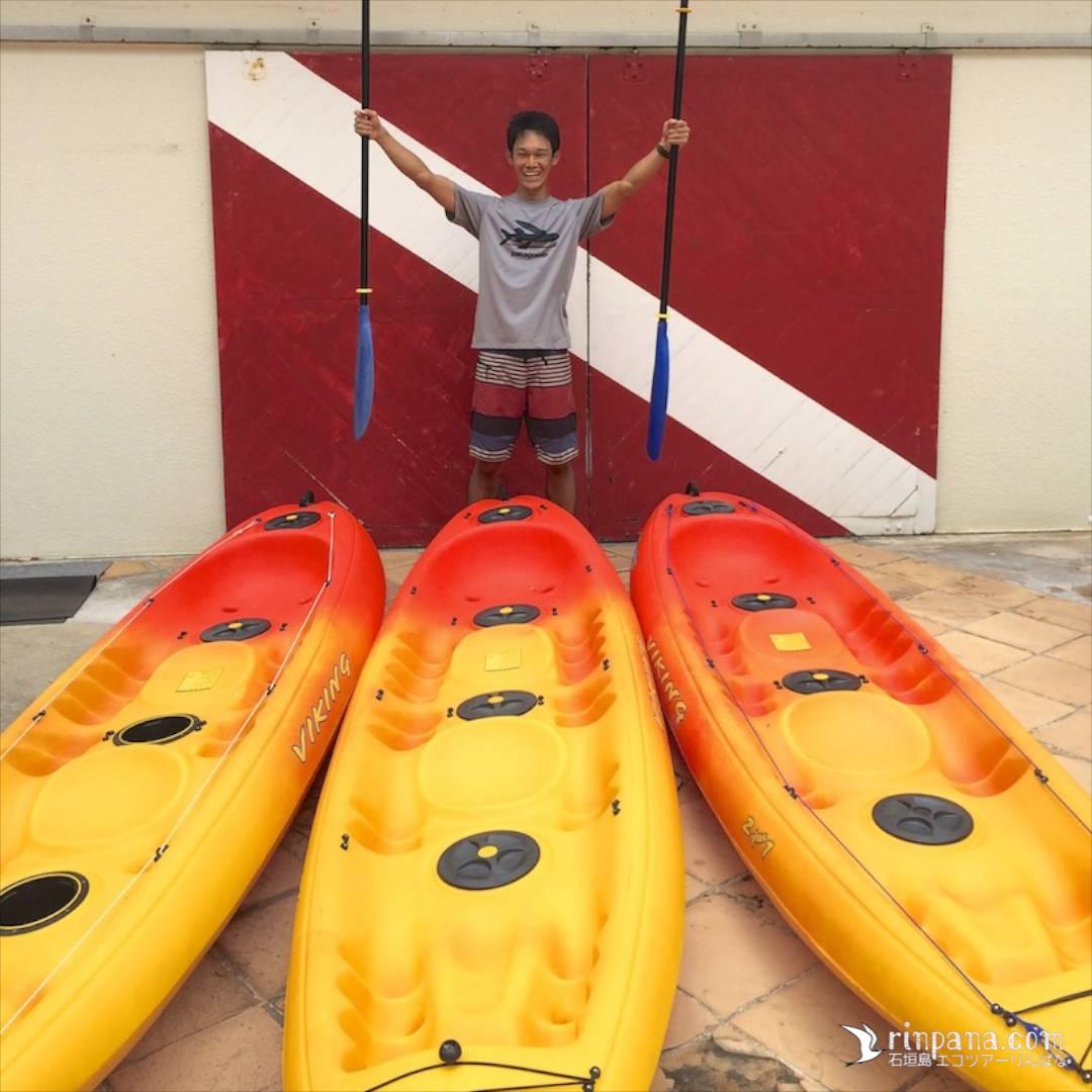 国産バイキング社のカヌーをレンタルに使用
