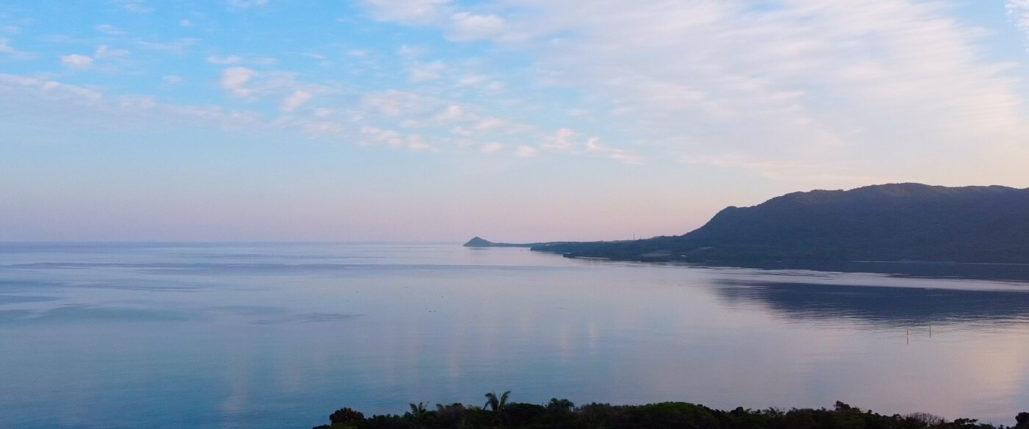 ドローンで撮影した早朝の海