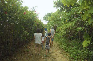 農園を歩く家族