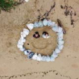 海岸ゴミ清掃のドローン空撮